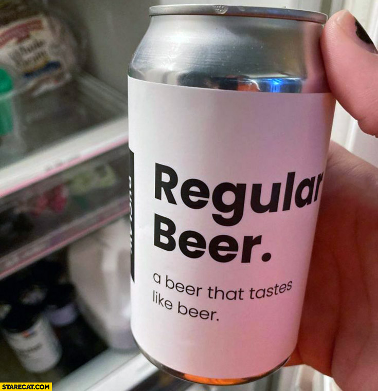 Regular beer, a beer that tastes like beer creative packaging