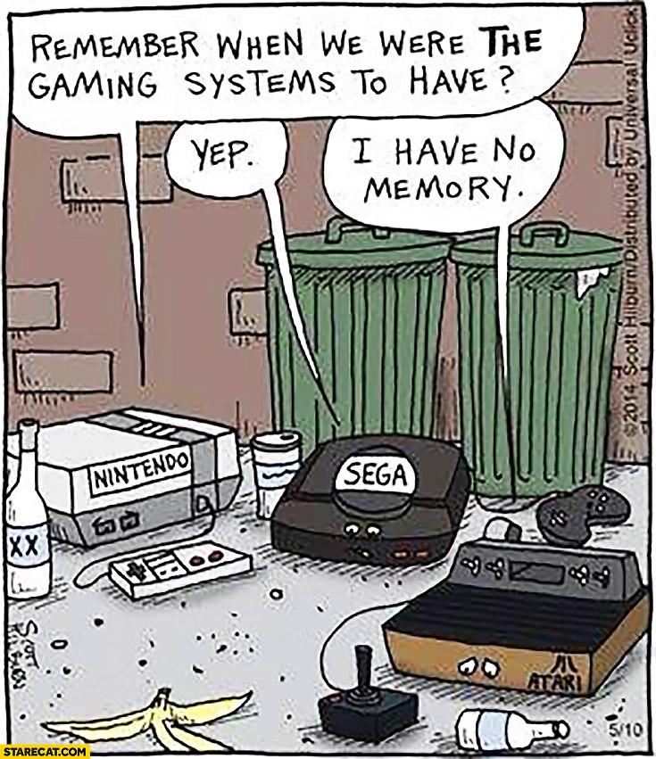 Remember when we were the gaming systems to have? Yep, I have no memory Atari, Sega, Nintendo
