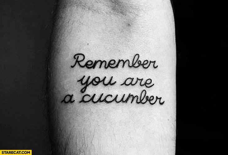 Remember you are a cucumber tattoo