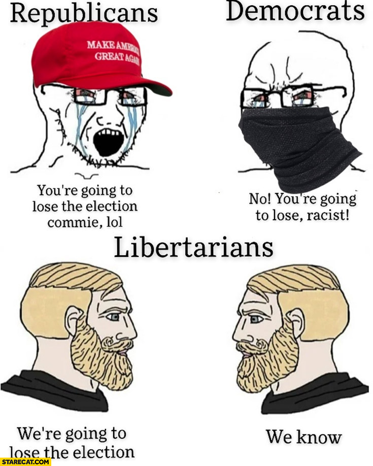 Republicans: you're going to lose the election commie, democrats: no you're going to lose racist, libertarians: we're going to lose the election, we know