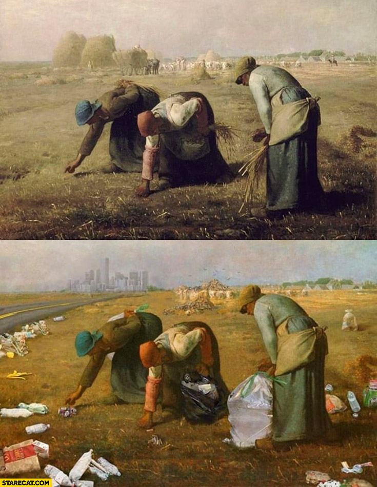Retro painting women picking up grass photoshopped into women picking up trash