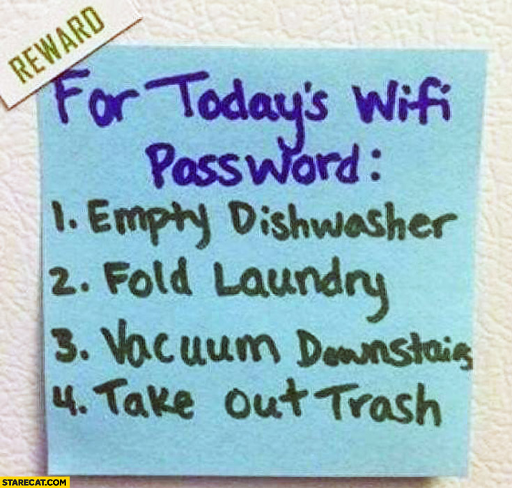 Reward for today's wifi password empty dishwasher fold laundry vacuum downstairs take out trash