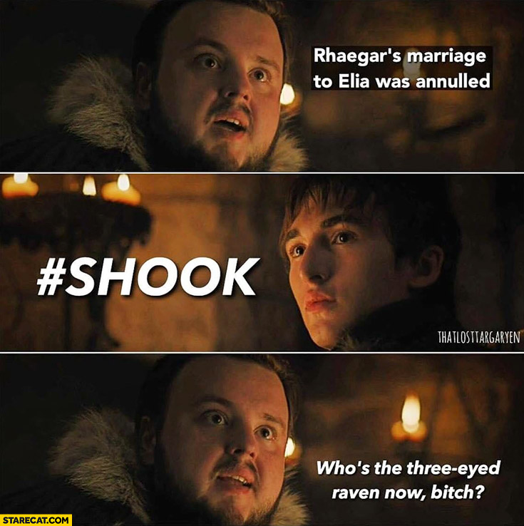 Rhaegars marriage to Elia was annulled. #Shook, who's the three eyed raven now bitch? Game of Thrones