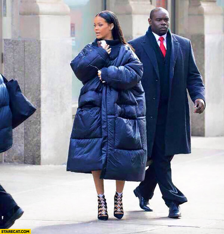 Rihanna after a night with Arsene Wenger too large jacket