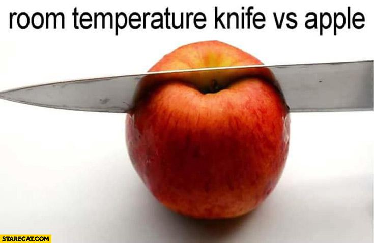 Room temperature knife vs apple
