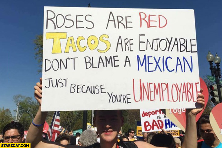 Roses are red, tacos are enjoyable, don't blame a Mexican just because you're unemployable
