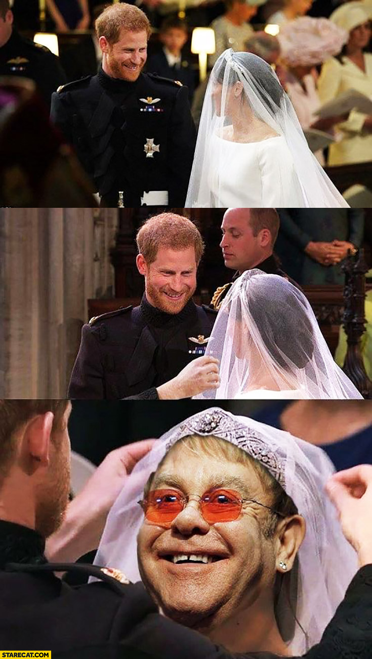 Royal wedding Elton John instead of Meghan Markle photoshopped