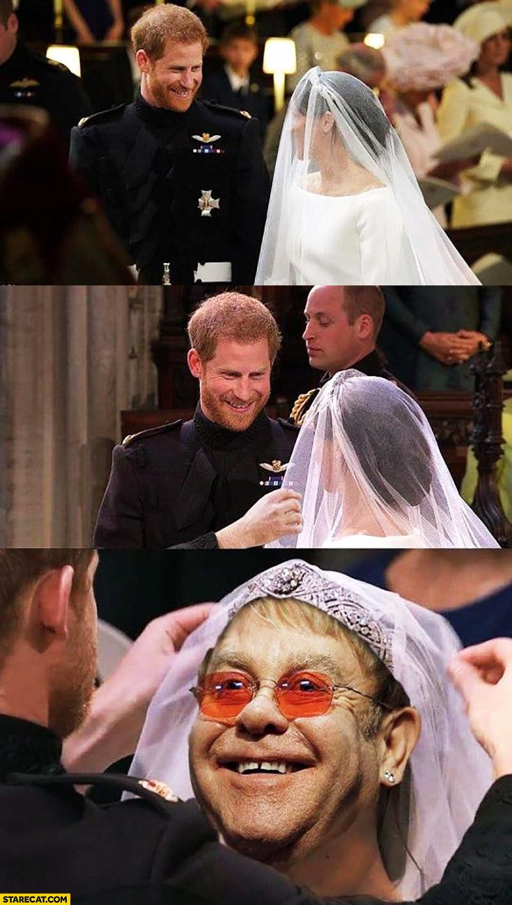 Royal wedding Elton John instead of Meghan Markle photoshopped