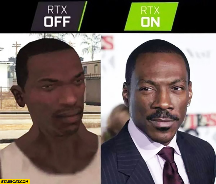 RTX off vs RTX on GTA screen Eddie Murphy Grand Theft Auto