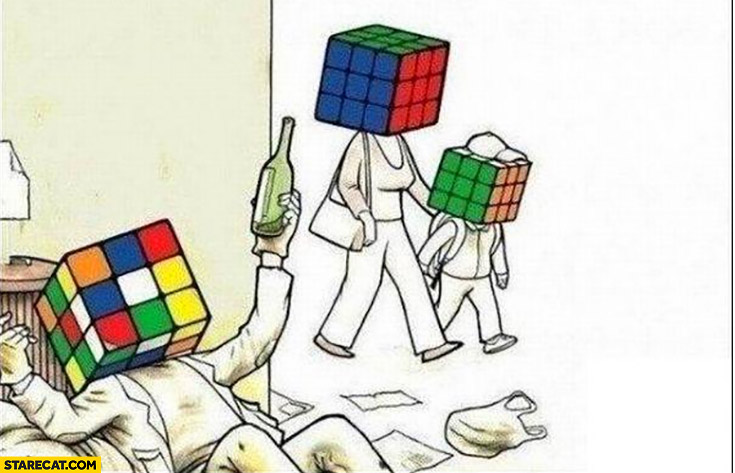 Rubik's cube messed life vs life well sorted drawing