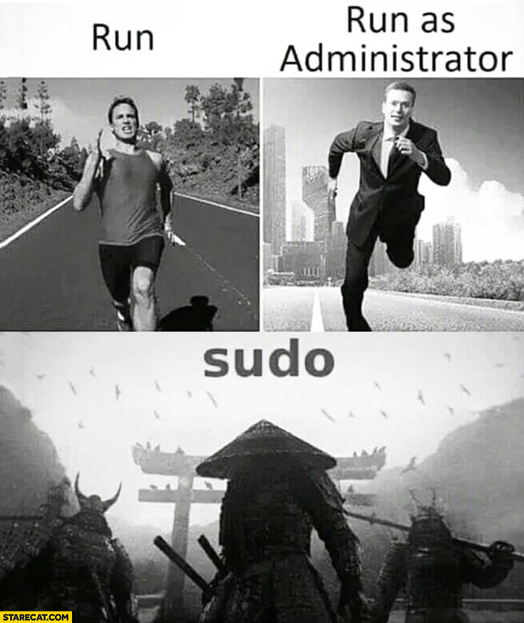 Run, run as administrator, sudo pictured
