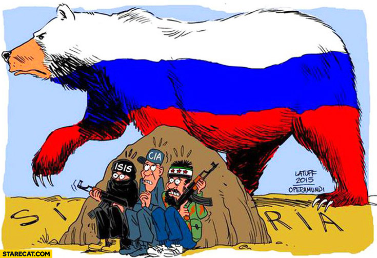 Russia in Syria huge bear ISIS CIA rebels hiding under a rock