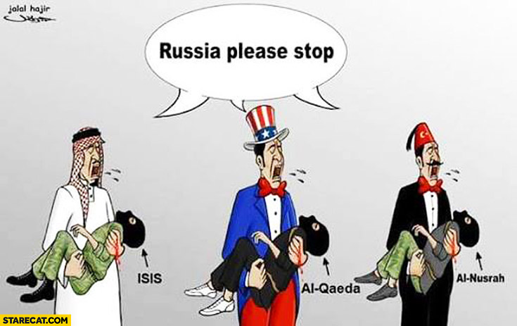 Russia please stop: Americans, Turkish, Saudi Arabia Syria drawing