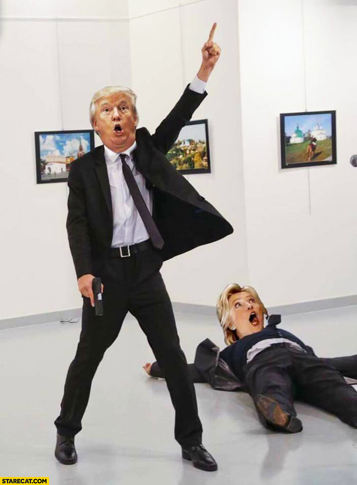 Russian ambassador shot photoshopped Donald Trump Hillary Clinton