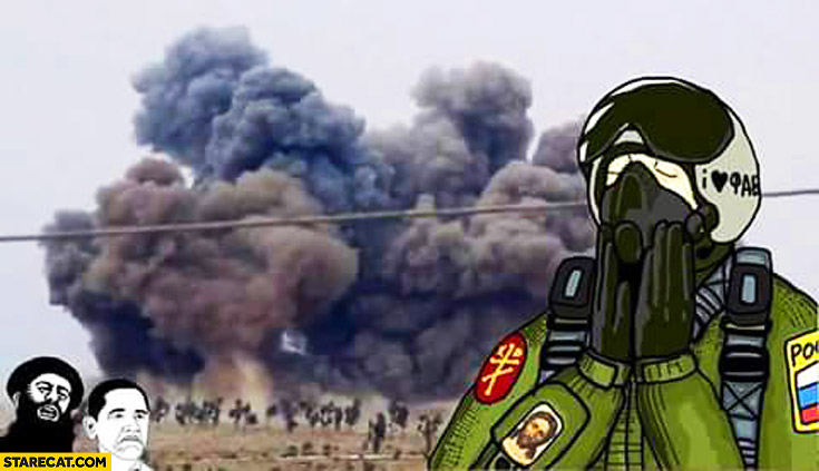 Russian jet pilot in Syria bombing meme Obama
