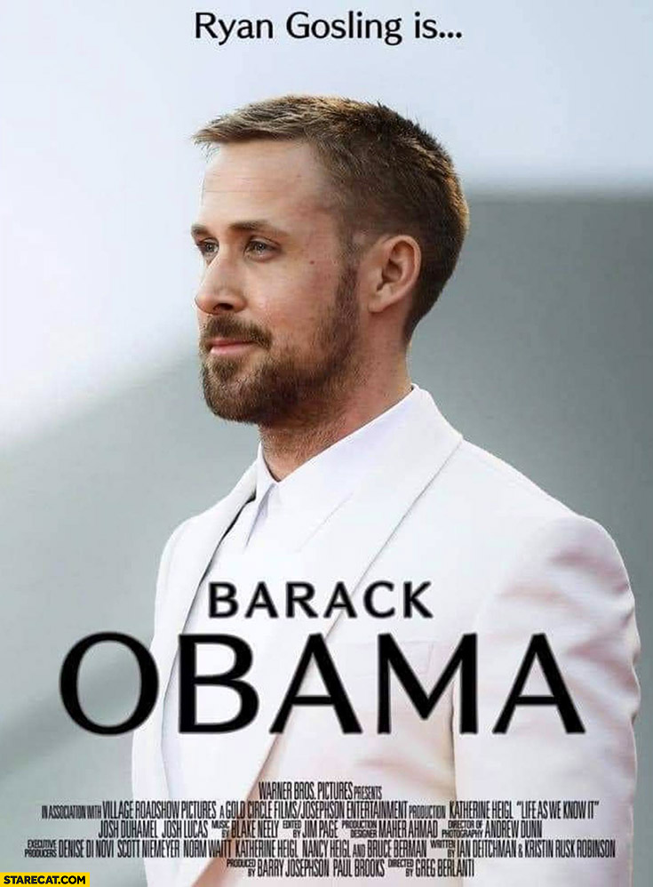 Ryan Sosling is Barack Obama movie poster photoshopped