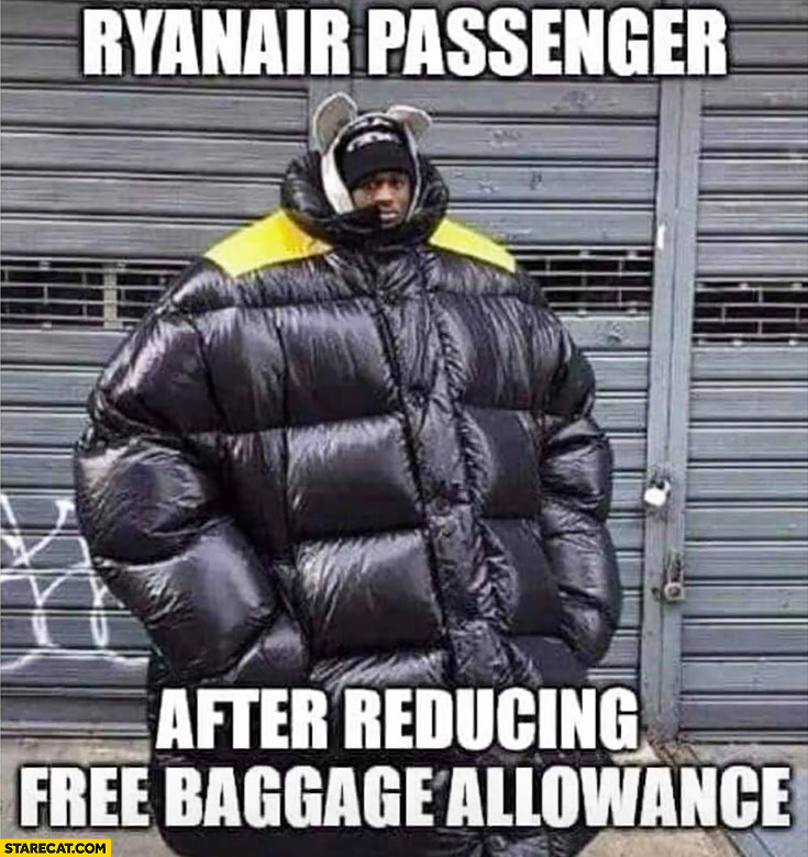 Ryanair passenger after reducing free baggage allowance