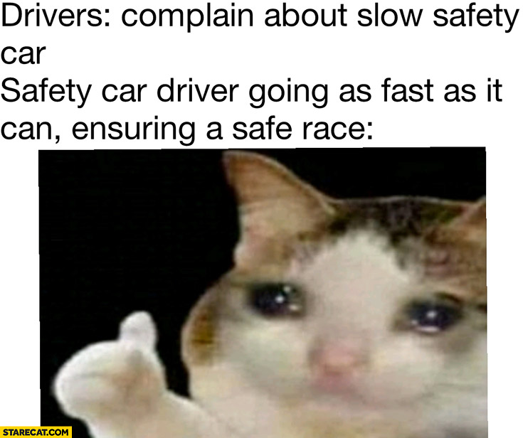 Sad cat drivers complain about slow safety car while driver is going as fast as it can ensuring a safe race formula 1