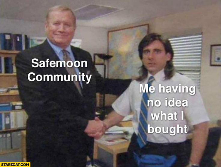 Safemoon community congratulating me having no idea what I bought