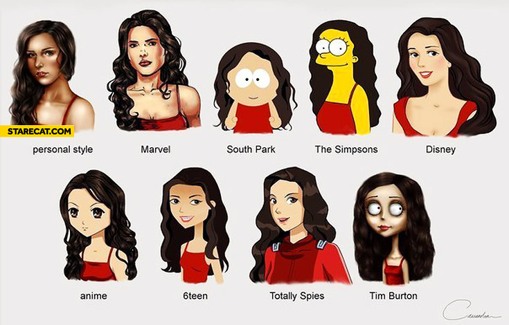 Same woman different drawing styles