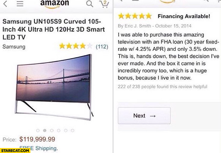 Samsung 105-inch TV box is incredibly roomy I live in it now Amazon review