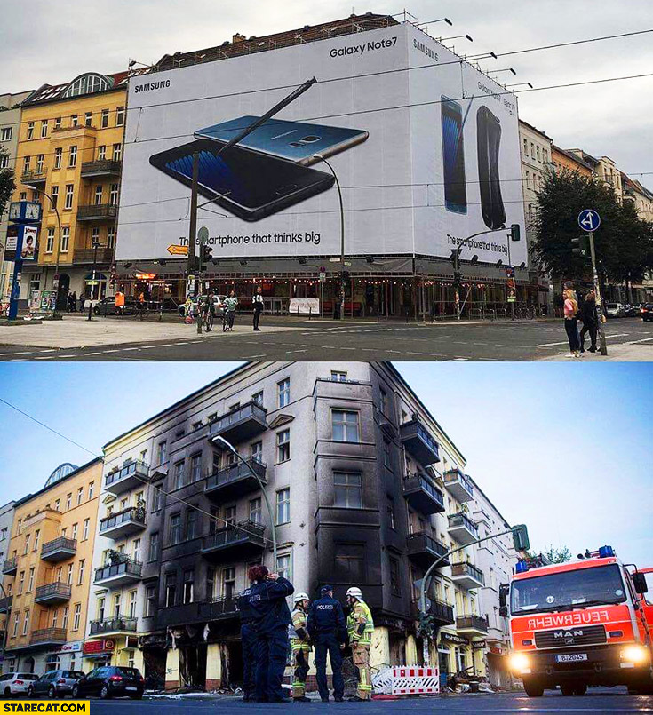 Samsung Galaxy Note 7 billboard fire burnt explosion
