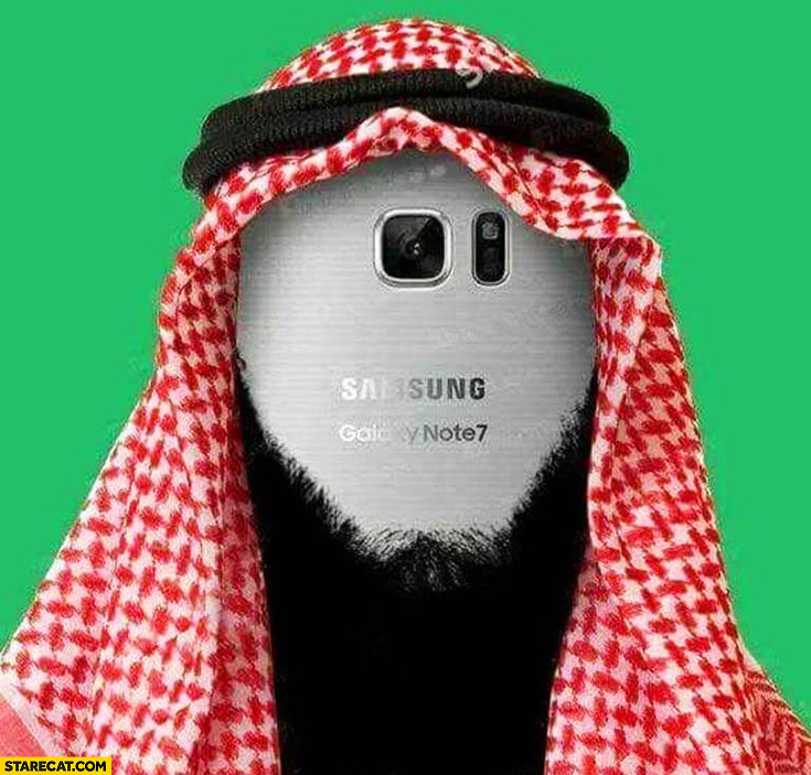 Samsung Galaxy Note 7 dressed as terrorist self exploding