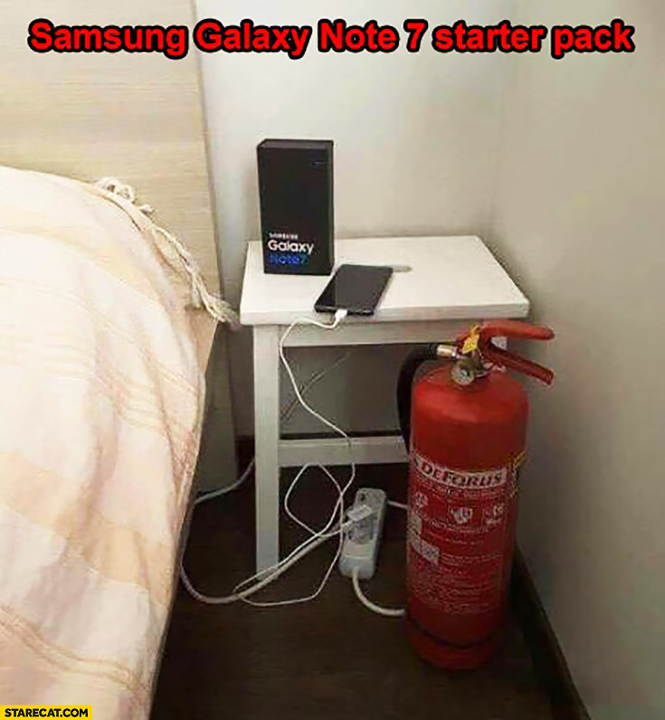Samsung Galaxy Note 7 starter pack fire extinguisher near bed