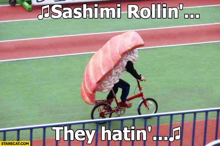 Sashimi rollin, they hatin. Man dressed as a sushi