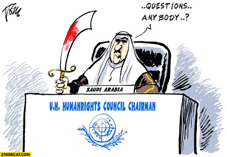Saudi Arabia humanitarian council chairman. Questions anybody? United Nations fail