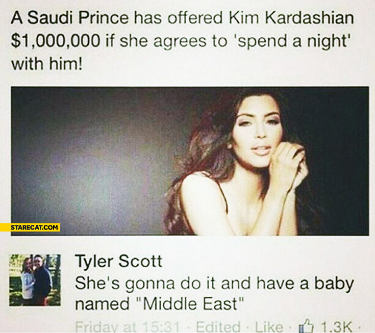 Saudi Prince offered Kim Kardashian million dollars to spend a night with him baby named Middle East