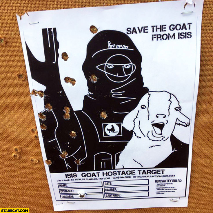 Save the goat from ISIS shooting range aim card