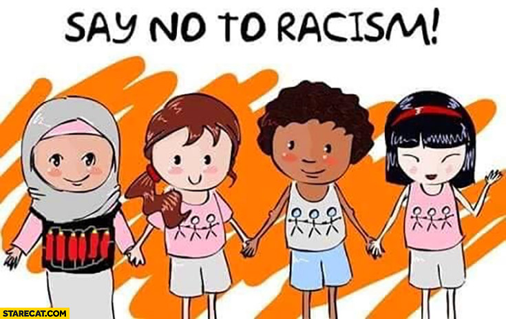 Say no to racism islamic muslim with shahid belt