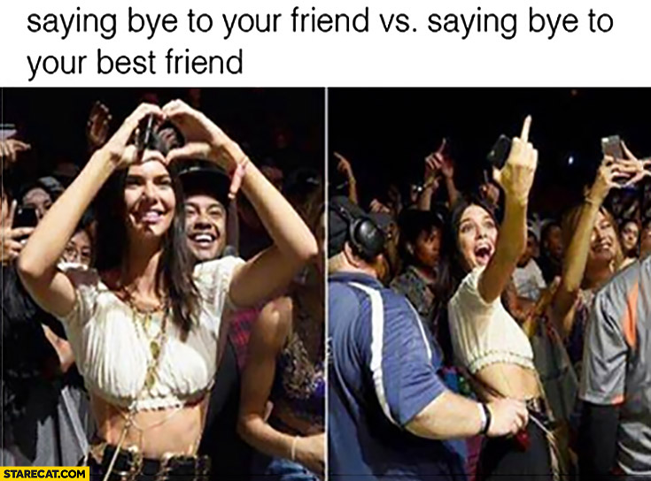 Saying bye to your friend hands heart vs saying bye to your best friend middle finger