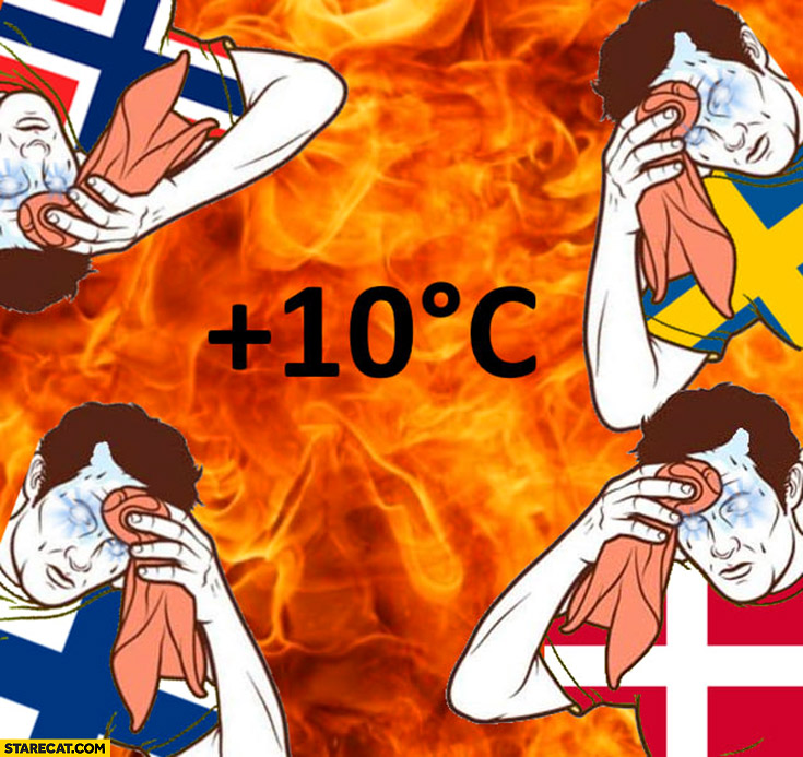 Scandinavian countries when the temperature is plus +10 celsius fire too hot Finland Norway Sweden Denmark