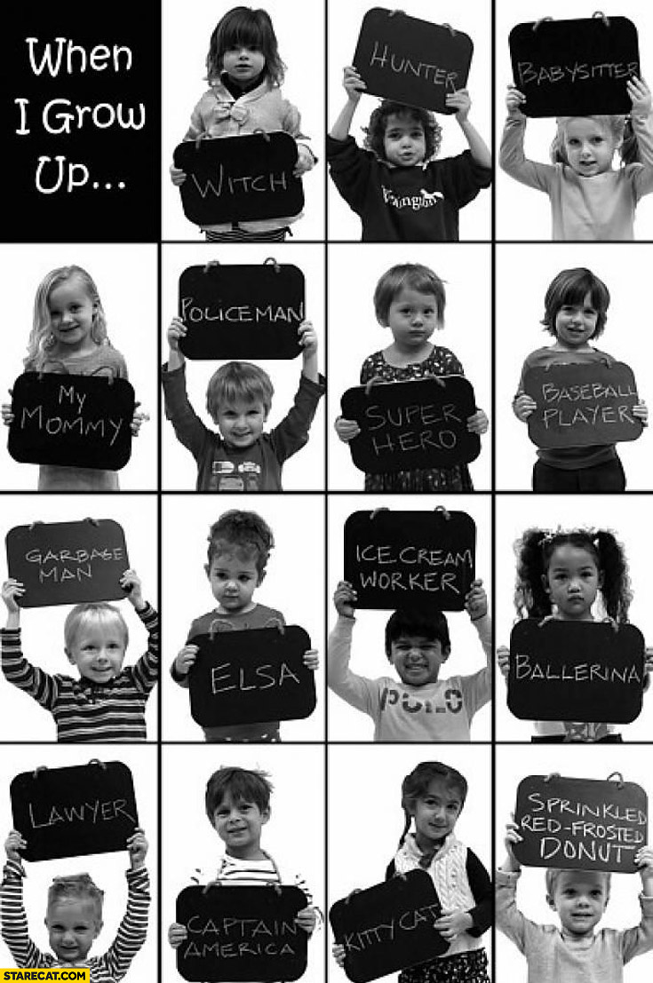 School asked kids in preschool what they wanted to be when they grew up