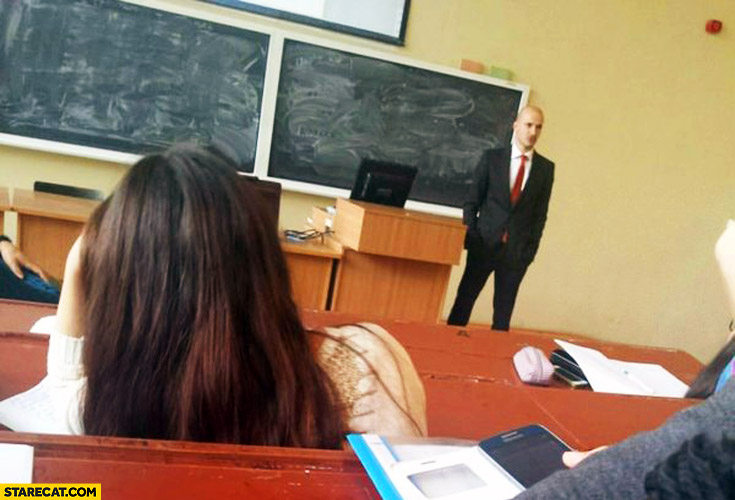 School teacher looking like Hitman