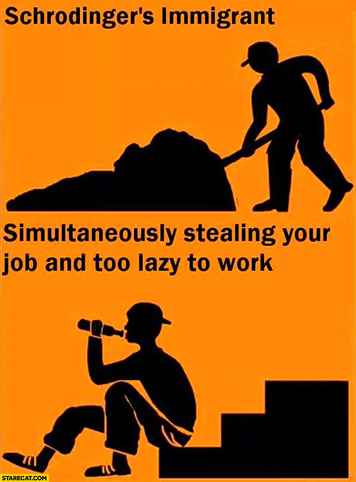 Schrodinger's immigrant: simultaneously stealing your job and too lazy to work