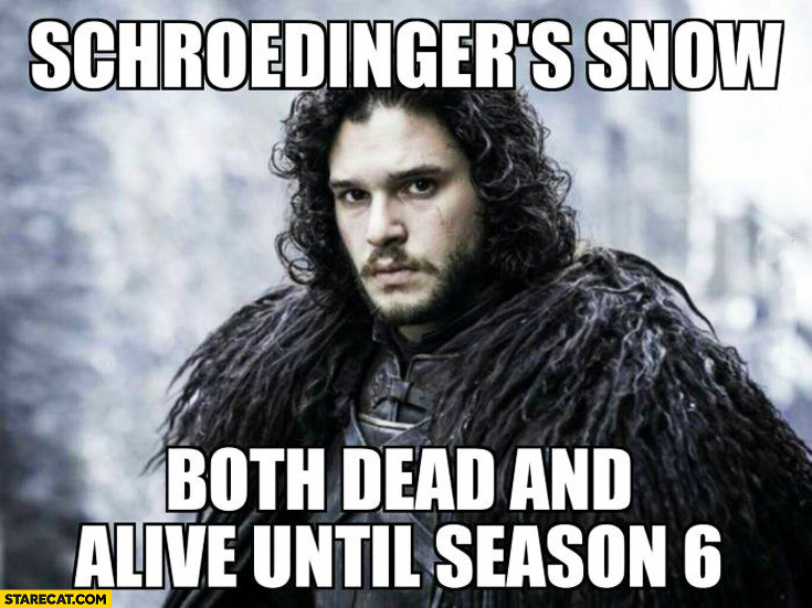 Schroedinger's Snow: both dead and alive until season 6 Jon Snow Game of Thrones