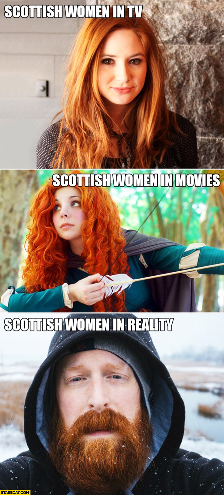 Scottish women in TV, in movies cute ginger, in reality bearded man