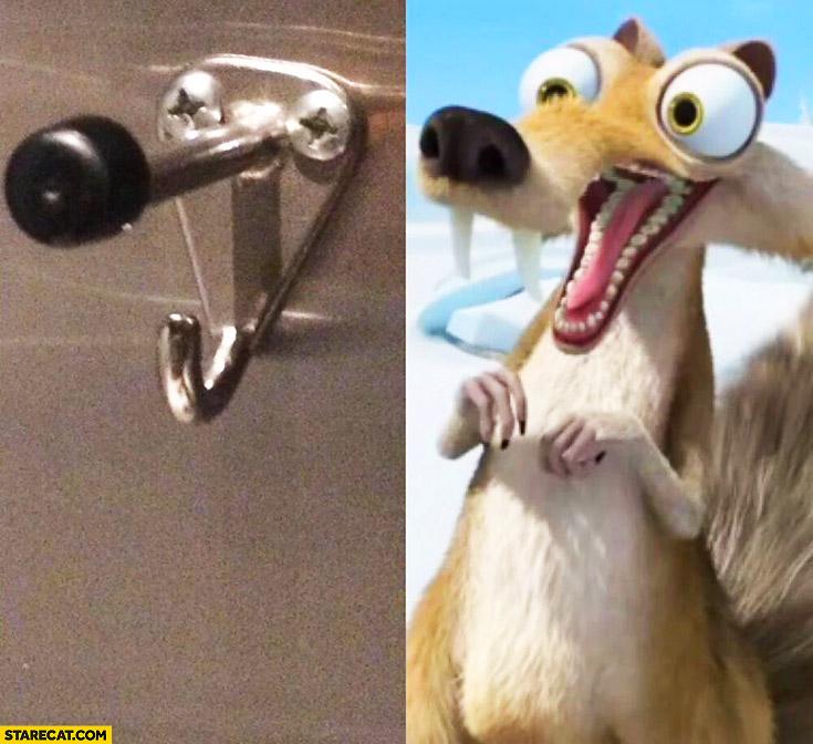 Scrat Ice Age squirrel looking like a metal hanger