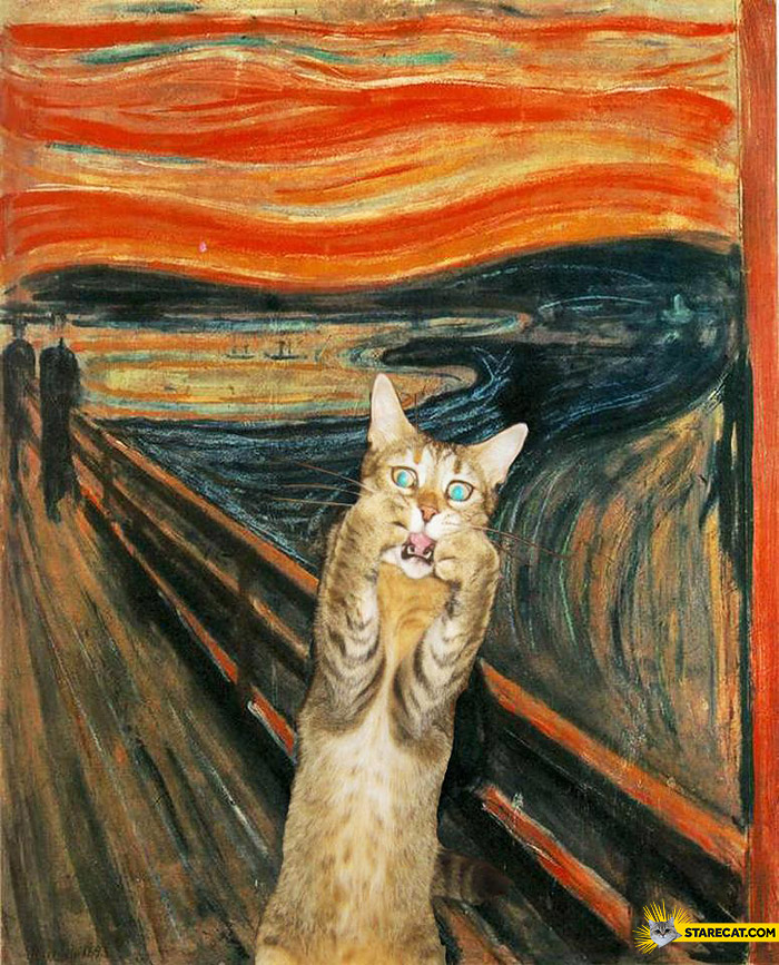 Scream painting Edvard Munch cat