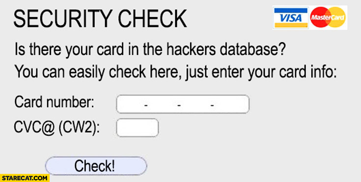 Security check: is your card in the hackers database? Easily check here just enter your card info
