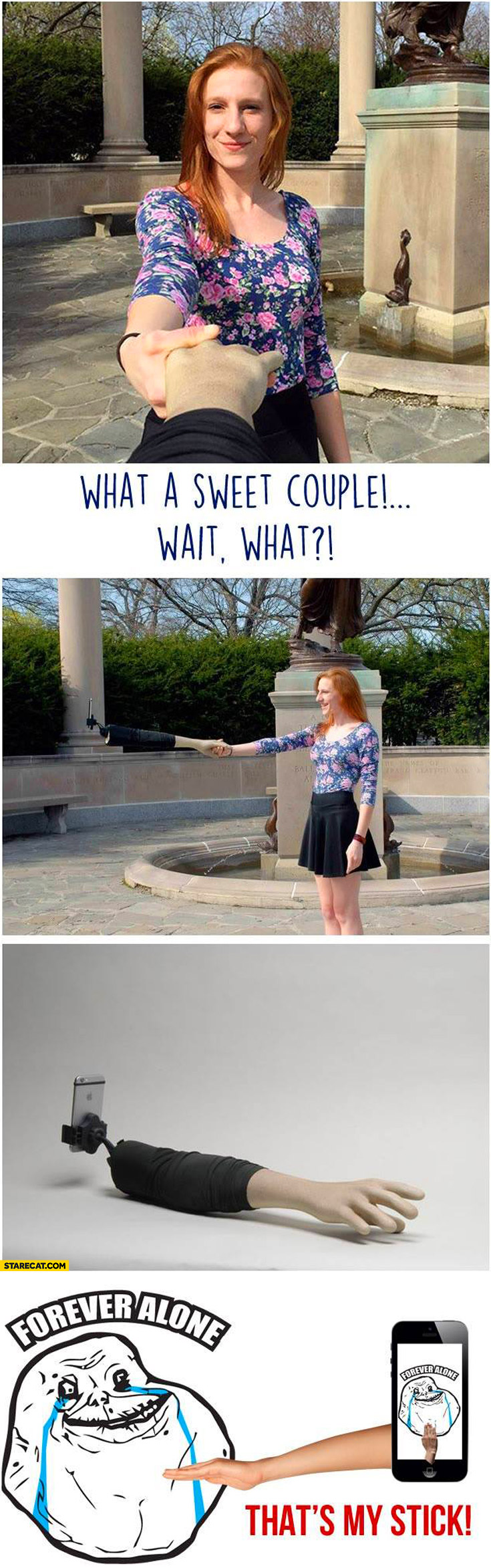 Selfie stick hand forever alone
