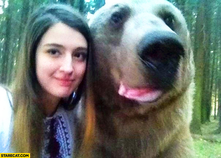Selfie with a bear Russia