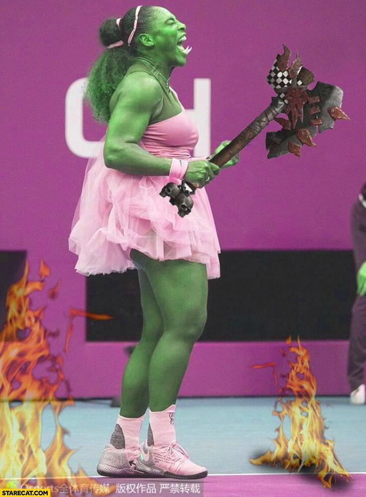 Serena Williams ogre photoshopped tennis player