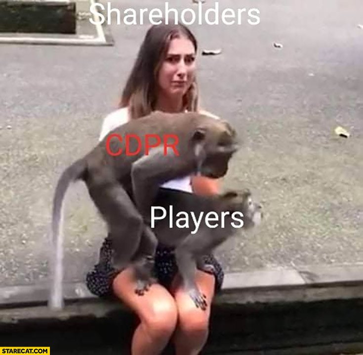 Shareholders looking at CD Projekt messing with players monkeys confused girl