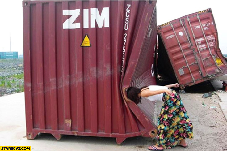 She broke huge metal cargo container by hitting it with her head creative photo
