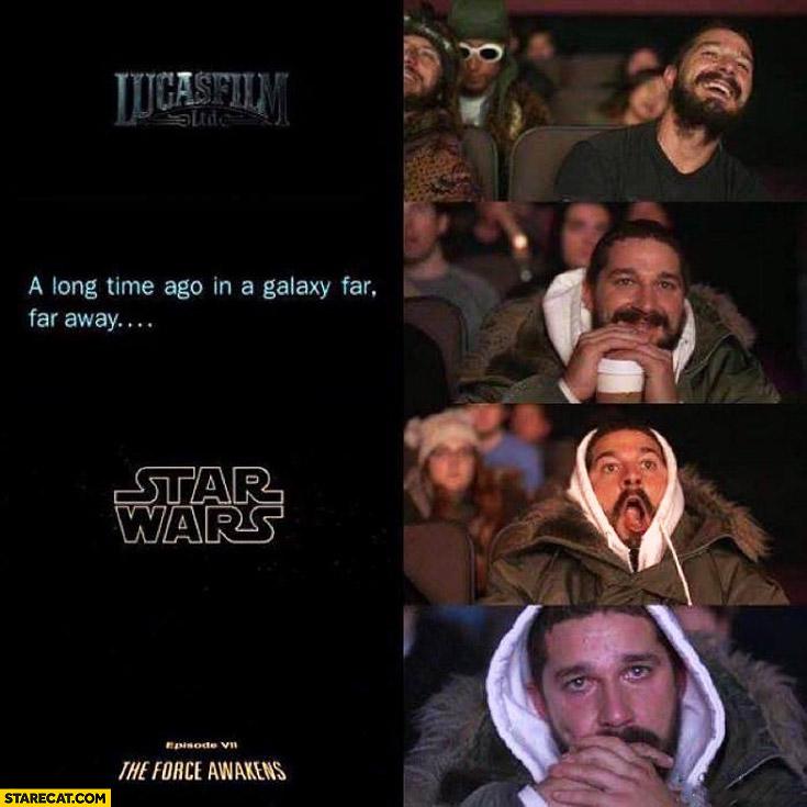 Shia Labeouf wathing Star Wars crying
