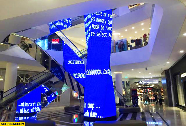 Shopping mall sculpture Windows blue screen fail